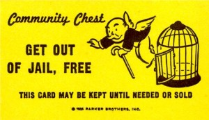 "Monopoly ""Get out of jail free"" card"
